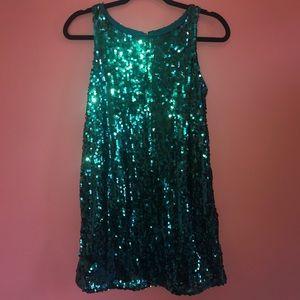 Honey Punch Green iridescent sequin tank dress NWT